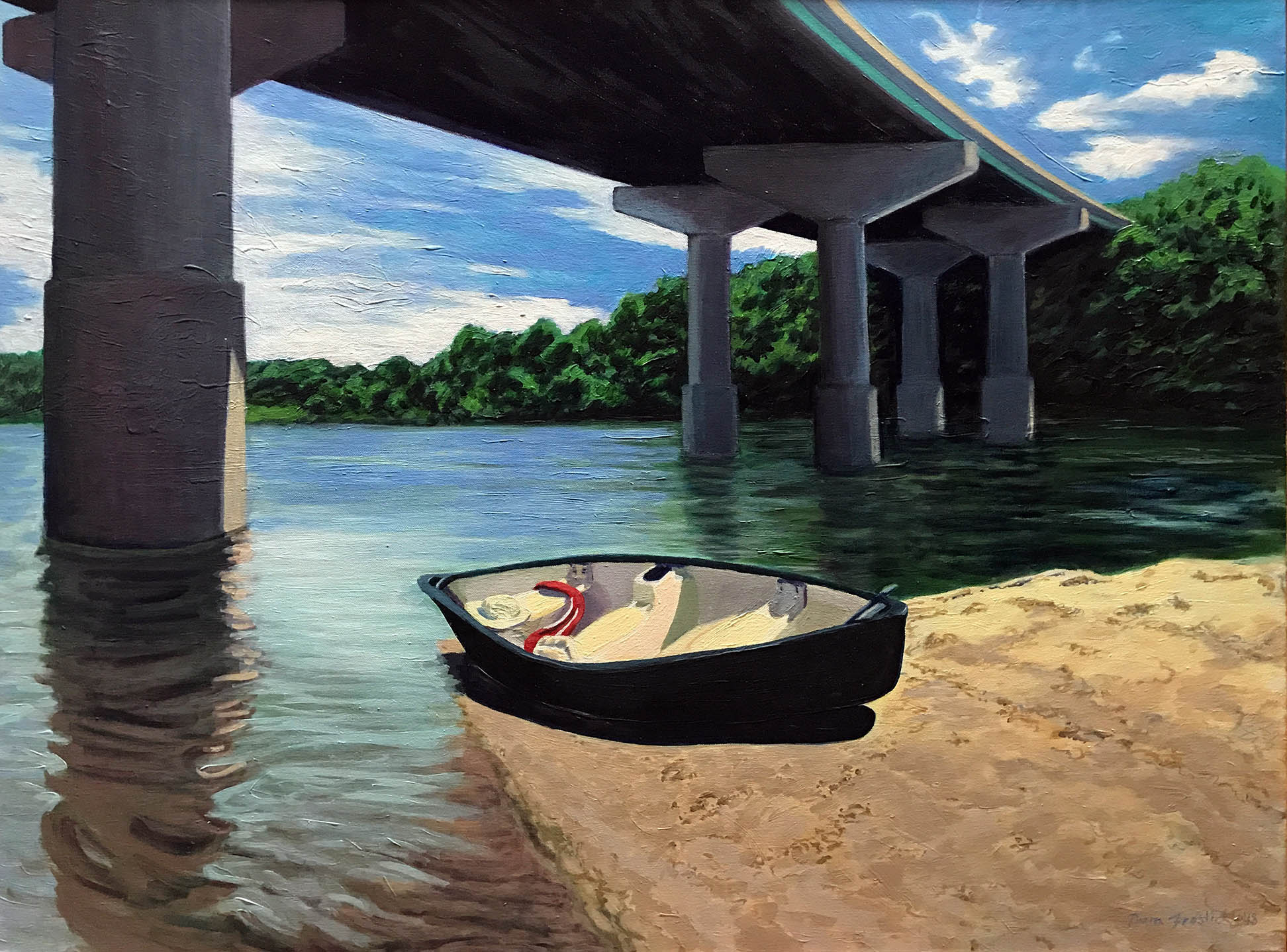 Underneath the Willey Bridge with a Canoe